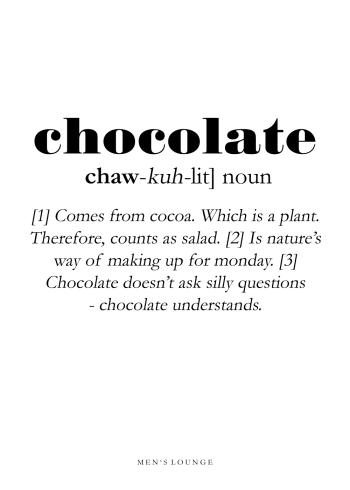 chocolate definitions plakat på engelsk