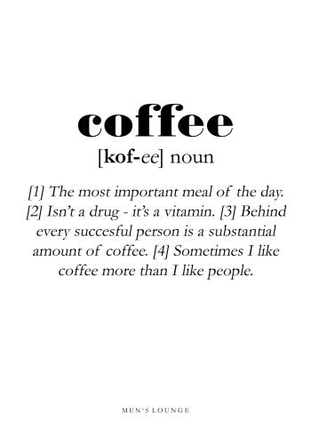 coffee definitions plakat på engelsk