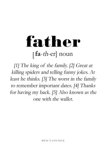 father definitions plakat på engelsk