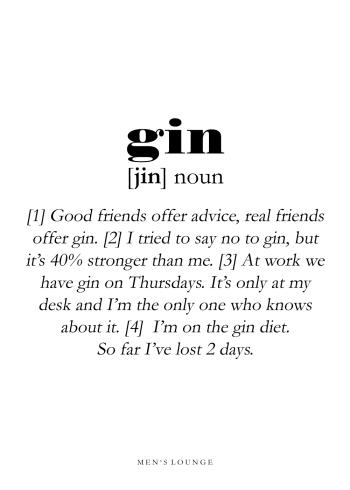 gin definitions plakat på engelsk