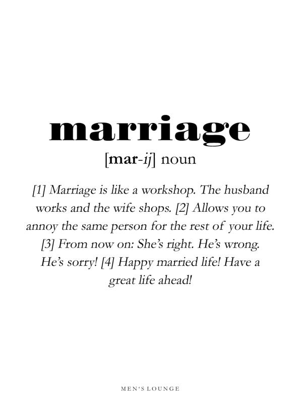 marriage definitions plakat på engelsk