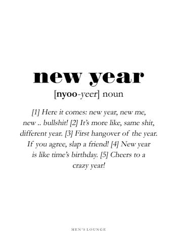 new year definitions plakat på engelsk