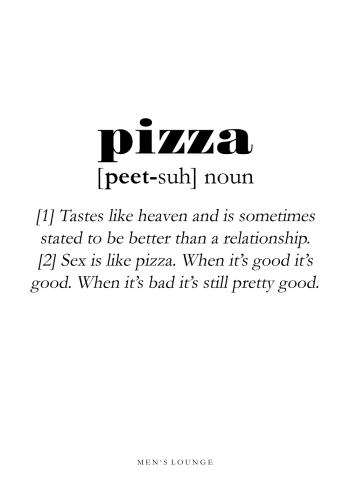 pizza definitions plakat på engelsk
