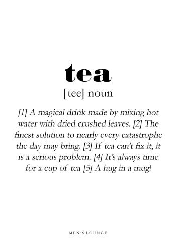 tea definitions plakat på engelsk