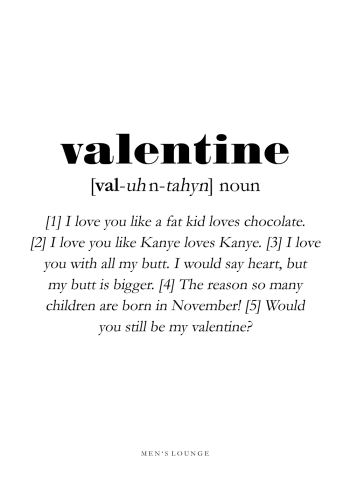 valentine definitions plakat på engelsk