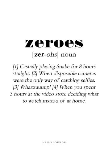 zeroes definitions plakat på engelsk