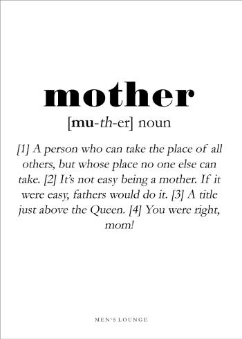 mother definitions plakat på engelsk