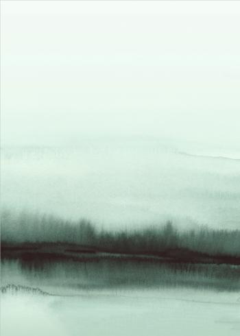 maleri billede af den grønne skov i vandfarver