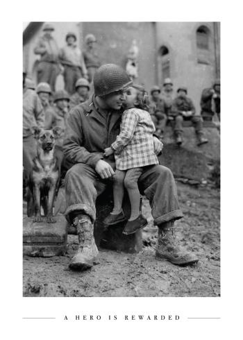 soldat og lille pige i krigen