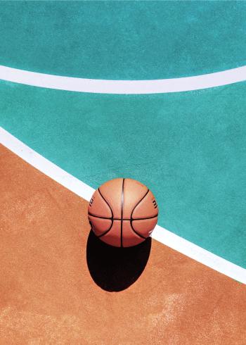 fotokunst plakater af basket sport og gulv med bold