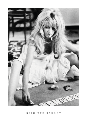 Brigitte bardot playing with cards plakat