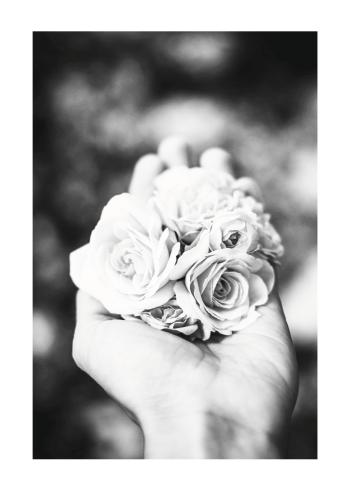 fotokunst plakat med blomster i hånd