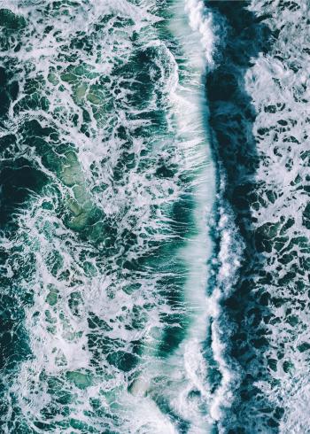 Fotoplakat af det blå ocean og bølger