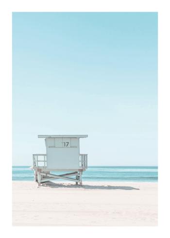 fotokunst plakater af eksotisk strand med udkigstårn