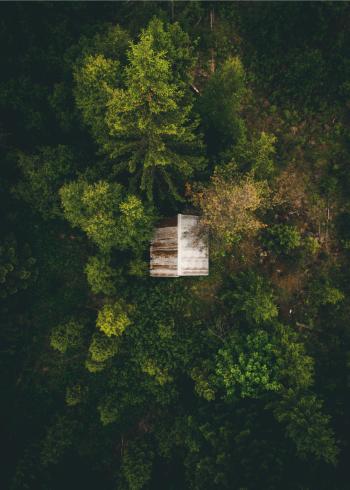 fotoplakat drone billede af nordisk natur med lille hytte