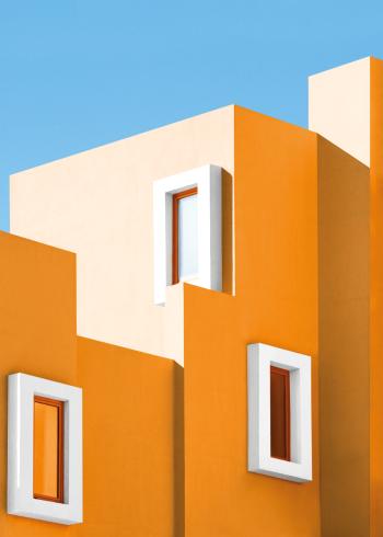Arkitektur plakat i farver med gul bygning