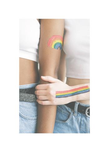 To kvinder med regnbueflag på armene der kærtegner hinanden