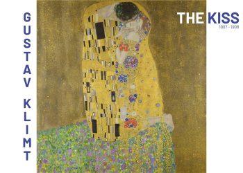 """På plakaten ses Gustav Klimts """"The Kiss"""", som han malede i 1908. Maleriet blev, da det i sin tid udkom, kritiseret for at være voldsomt pornografisk. Selve maleriet forestiller en mand, som efter al sandsynlighed er Klimt selv, der kysser en ukendt kvinde som sidder på knæ på et blomstret underlag med blottede fødder. Brugen af guld giver billedet en gylden og varm stemning som kendetegner Klimts symbolistiske udtryk."""