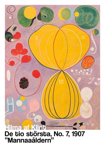 Kunstplakat af Hilma af Klint. Farverig plakat fra 1907