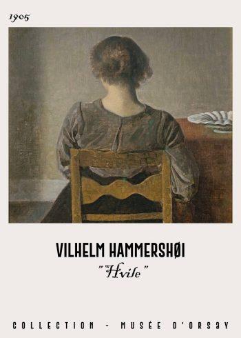Hvile plakat af vilhelm hammershøi, fra 1905 i de fineste mørke nuancer. Her ser man en kvinde som sidder med ryggen til