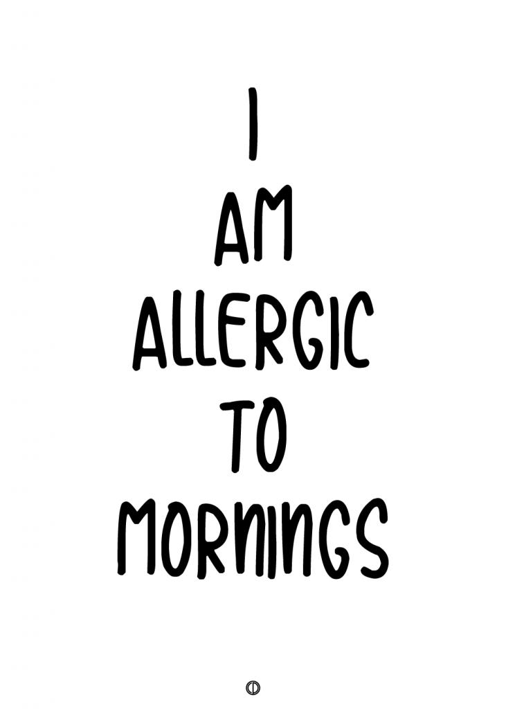 plakater med tekst - i am allergic to mornings