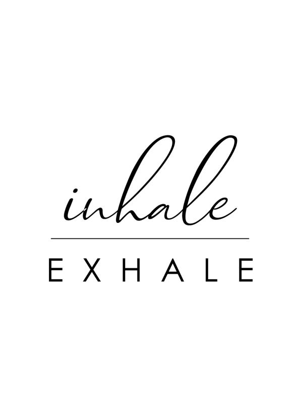 yoga plakat - inhale exhale tekst