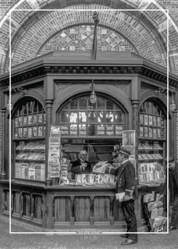 Plakat med gammelt billede af salgs kiosken på hovedbanegården