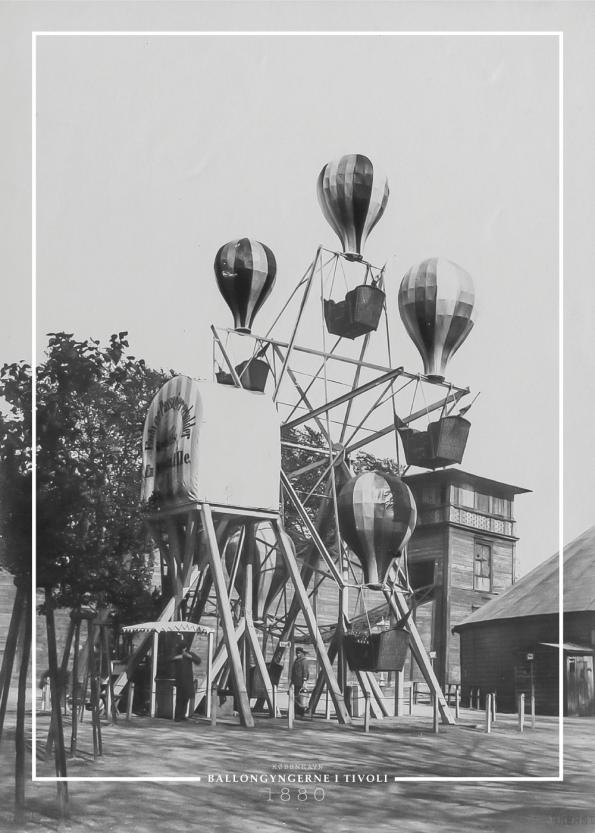 plakat med gammelt billede af Ballongyngen i Tivoli
