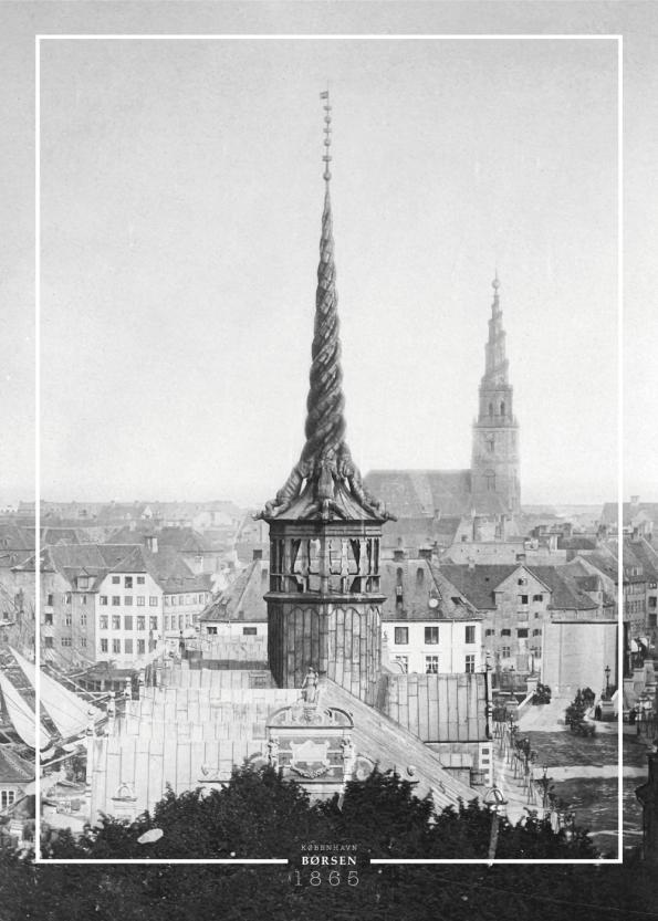 Plakat med gammelt billede af tårnet på børsen i københavn