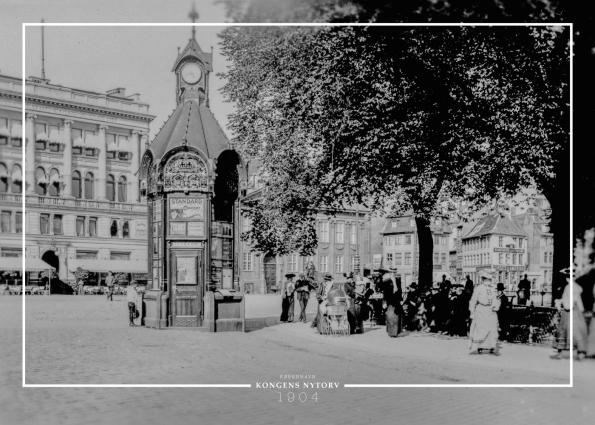 Plakat med gammelt billede af lille kiosk på Kgs Nytorv