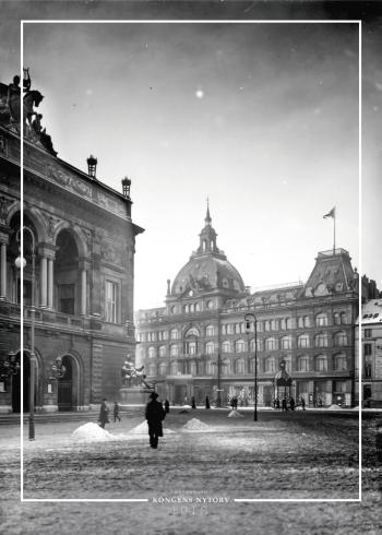 Plakat med gammelt billede af Det Kongelige Teater og Magasin du Nord