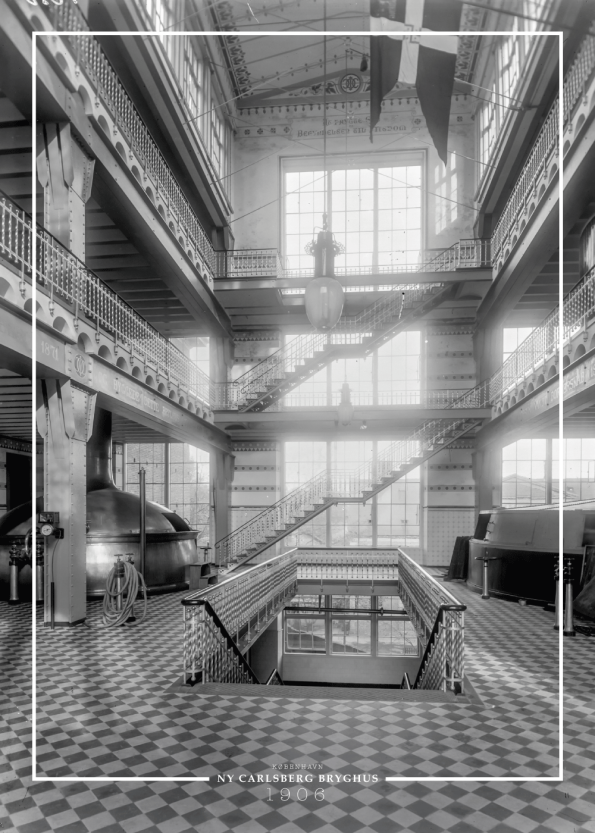 plakat med gammelt billede af Carlsberg bryghus