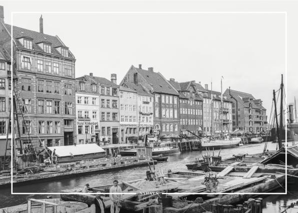 Plakat med gammelt billede af Nyhavn