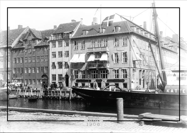 Plakat med gammelt billede af Nyhavn og Kvæsthusgade
