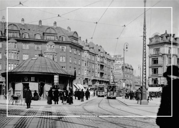 Plakat med gammelt billede af Trianglen på Østerbro