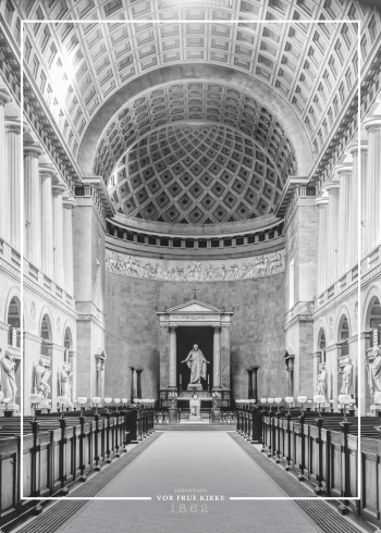 Plakat med billede af Vor Frue Kirkes storslåede interiør