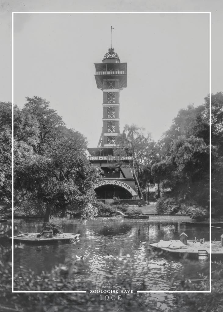Plakat med gammelt billede af tårnet i Zoo Zoologisk Have på Frederiksberg