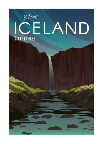 Grafisk plakat af Island af vandfaldet Svartifoss, i de fineste farver.