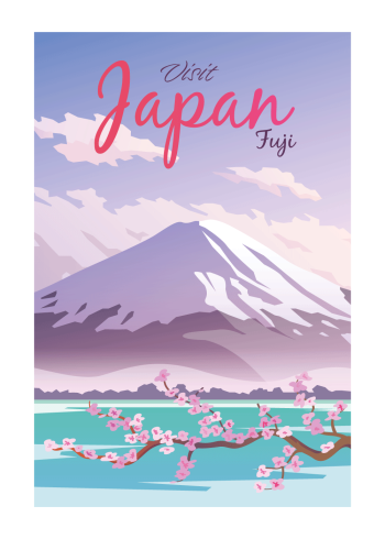 Grafisk flot og farverig plakat, hvor man kan se den velkendte bjerg Fuji og de ikoniske lyserøde kirsebærtræ