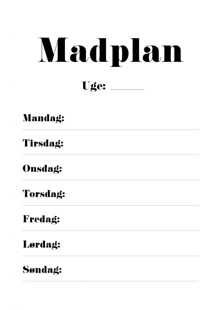 madplan for uge