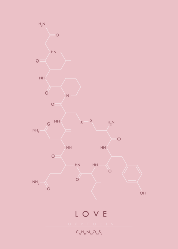 Plakat med molekylet for kærlighed