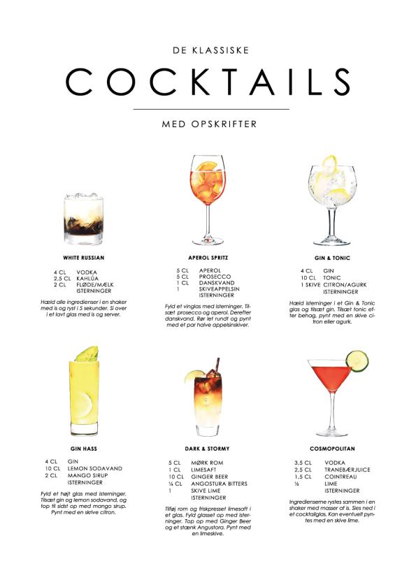cocktails opskrifter på plakat