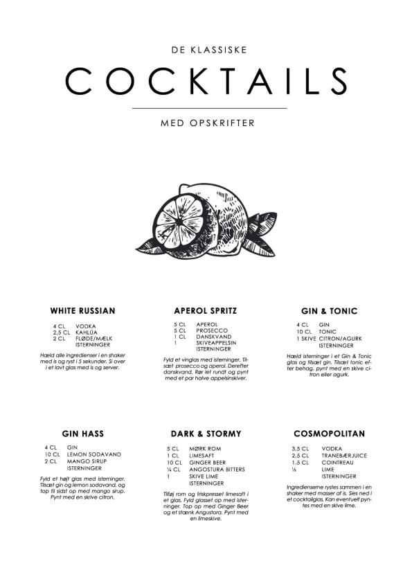 cocktail plakat med de klassiske retro
