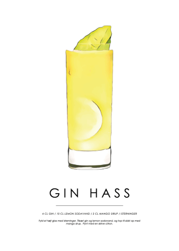 gin hass cocktail plakat