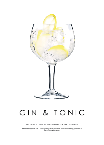 gin og tonic cocktail plakat