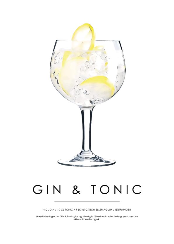 gin og tonic cocktail plakat