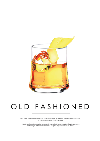 old fashioned cocktail plakat