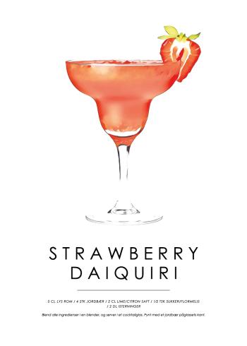 strawberry daiquiri cocktail plakat