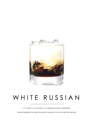 white russian cocktail plakat