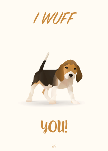 far jokes - i wuff you - hund plakat